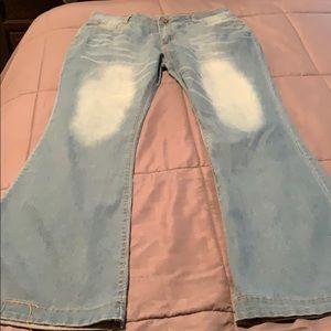 Mid Waist Casual Button Bell-bottom Jeans